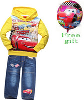 Spring / Autumn balloon sweater - 9 off IN STOCK Free gift balloon car Boys Set boy terry hoodie sweater jeans brand clothes DROP SHIPPING TM