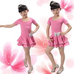 Wholesale Silver Girls Dance Skirt - Kids bailarina dance skirt bowknot and gold silver lace little girls Latin dance practise dress children's ballet dance clothes