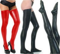 Wholesale 2014 Sexy Black Red Womens Black Stocking Spandex Thigh High Latex Glam Rock Gothic Wetlook Fetish Stocking S7796 Dropshipping