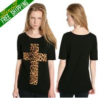 Women V-Neck Regular 2014 new Women Punk Leopard Christ Cross Printed sleeved Top T-Shirt Blouse S M LXL XXL free shipping T001