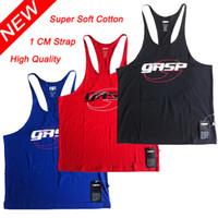 Wholesale Men s Bodybuilding Muscle Deep cut GASP Golds Gym Stringer Tank Tops Gym Vest Fitness Clothes Workouts Sports Singlets Vest