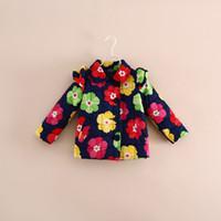 Wholesale 2014 Fall Print Flower Jackets Baby girls Turn down collar Cotton Warm kids girl outwear