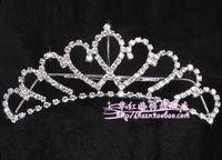 Tiaras&Crowns Rhinestone/Crystal  2014 In Stock Free Shipping Shining Wedding Bridal Crystal Veil Tiara Crown Headband Hair Accessories