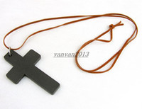 Wholesale New Fashion accessories Jewelry Korean Style Wood Cross pendant leather string sweater long chain Necklace