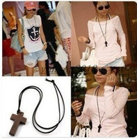 Wholesale 2014 jewelry New Fashion accessories Jewelry Korean Style Wood Cross pendant leather string sweater long chain