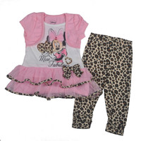 Wholesale 6 sets Novelty Girls summer Clothing Set Minnie Mouse Faux Piece Layer Pink Tops Leopard Leggings Twinset Popular Clothes