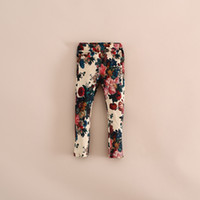 Wholesale 2014 Fall Print Floral Tights Pants Baby girl elastic rosette flower Casual leggings