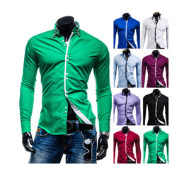 Wholesale Autumn Summer New Men s Candy Color Casual Shirts Multi button Design Stand Collar Slim Fit Dress Shirts Colors M XXL