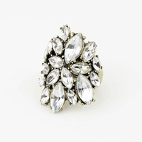Unisex big auger - Europe and the United States the new big auger exaggerated elastic retro ancient flower ring
