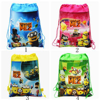 Wholesale Fashion Despicable Me Minions Kids Drawstring Backpack Bags Shopping School Traveling GYM bags waterproof fabric Drawstring Bags