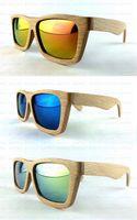 Wholesale Wood sunglasses men Handmade with Bamboo box Wooden beech glasses Mirror polarized coating revo retro wayfarer ESWD2002A