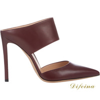 Women Stiletto Heel Rubber Woman Pointed Toe Sandals Brown Color Woman Bare Ankle Sexy Sandal Euramerican Style Cowhide Leather Shallow Mouth Stiletto Heel 12CM