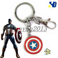 Wholesale 2014 new The Captain America Shield keychain the Avengers America Captain necklace men jewelry wonderful gift superhero jewelry