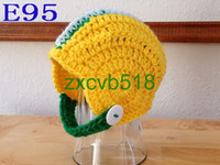 Unisex Winter Crochet Hats Free shipping Crocheted Newborn Football Green Yellow White Helmet hat baby Photography Prop 30pcs
