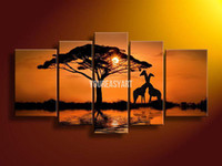Oil Painting Abstract Unframed Wholesale - 5 Panel Wall Art African Abstract Orange Yellow Giraffe Oil Painting On Canvas Knife Stretched For Home Modern Decoration