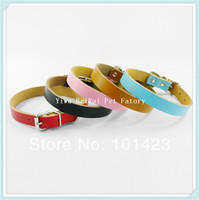 Wholesale pieces Berry Colors Sizes Cow Leather Dog Collars for Small and Medium Pet Dog Collars Leashes