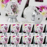 Ceramic  New TK0736# 2014 New 8 Pcs Glass Crystal Cabinet Drawer Knob Kitchen Pull Handle Door Wardrobe Hardware 30mm White TK0736