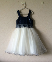 Wholesale bonnie jean t girl dress for party with sequins and embroidary girl ball gown dress kids black and dark blue children gir
