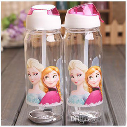 Wholesale Lowest Price drinkware Frozen Anna and Elsa PP Texture Suction cups kids cartoon water bottle sports bottle