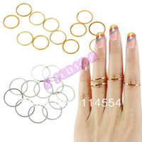 Band Rings Women's Fashion 2014 New 12PCS Rings Urban Gold Stack Plain Cute Above Knuckle Ring Band Midi Ring Dropshipping &wholesale 18521
