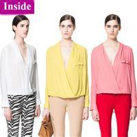 V-Neck Regular Acetate New 2014 Fashion Women Blouses Hot Selling Sexy ZA Ladies Blouse Dudalina Shirts Spring Summer Blusas Femininas Tops Sale 40095