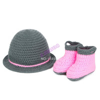 Unisex Summer Crochet Hats Newborn Baby Infant Crochet Wool Costume Photo Photography Props Knit Beanie Shoes Sets 18966