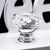 Ceramic  new TK0637# 10pcs 43mm Crystal Glass Door Knob Drawer Cabinet Kitchen Handle Cupboard Wardrobe Pull Handle TK0637