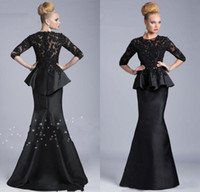 Crew black lace - 2014 Black Evening Gowns Sheer Crew High Neck Half Long Sleeves Appliques Lace Beaded Peplum Sheath Formal Dresses Vestido Formales