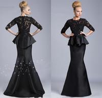 Crew peplum - 2014 Black Evening Gowns Sheer Crew High Neck Half Long Sleeves Appliques Lace Beaded Peplum Sheath Formal Dresses Vestido Formales