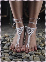 Women's beach wedding footwear - Dream Catcher Crochet Barefoot Sandals Nude shoes Foot Jewelry Beach Wedding Sexy Anklet Bellydance Beach Footwear