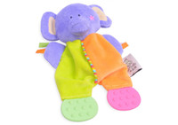 Cloth Hessie Green,Red,Blue,Yellow,Pink Wholesale-MN-dental care products teeth 18 * 22 cm colorful elephant PP cotton plush baby teether toys free shipping