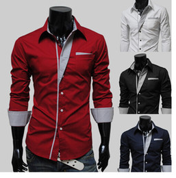 NEW popular Men's Fashion Luxury Stylish Casual Designer Dress Shirt Muscle Fit Shirts 4 color free shipping