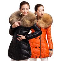 Women Lapel Neck Long 2014 Winter Women Fur Duck Down Coat Jacket 100% Natural Fur Raccoon Fur Genuine Leather Down Parkas Womens sheepskin Coat Outerwear Coats