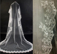 One-Layer Cathedral Length applique edge Hot Sale White Ivory 1T bridal veil cathedral bridal wedding veil lace mantilla applique edge drop car bone 1464j