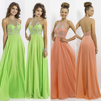 Wholesale ssj In Stock Beauty Coral Pink Chiffon Sequin Beading Evening Dresses With Halter Neckline Backless A Line Prom Gowns Top Quality AJ020