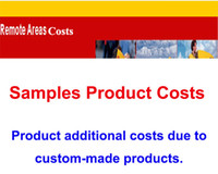 Wholesale Samples product costs or DHL Fedex UPS remote area costs or Products customized additional costs