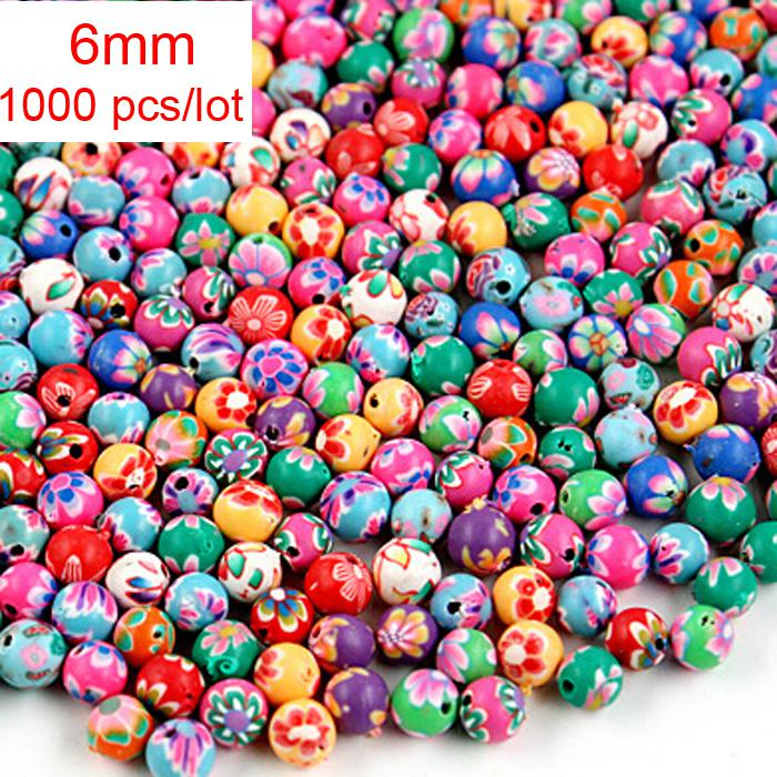 Handmade 6mm 8mm 10mm 12mm 14mm 16mm Rond Rondelle Couleurs mélangées Fimo Polym