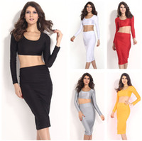 Casual Dresses Bodycon Dresses Autumn 2014 New Fashion High Street Women Dress 2 Piece Bandage Bodycon Dress Celebrity Long Sleeve Dress Sexy Club dresses G0588