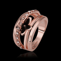 With Side Stones Mexican Women's High Quality 18K Rose Gold Plated Shinning Swarovski Crystal Black Flower Women's Rings Fashion Costume Jewelry #8 R539