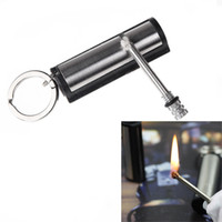 metal match lighter - Top Quality Metal Waterproof Permanent Match Striker Lighter with Key Chain Survival Matches for Outdoor Camping Silver H11313