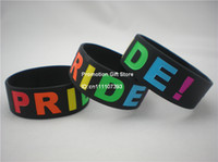 Wholesale Gay Pride Wristband Silicon Bracelet quot Wide Band Debossed Logo Rainbow Colour Adult Size Black
