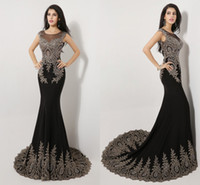 Wholesale Luxury Ready to wear Black Prom Dresses Beaded Evening Gown Real Image Mermaid Trumpet Crew Beading Long Formal Party Gowns SSJ
