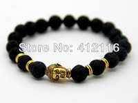 Wholesale 2014 Hot Sale Jewelry Black Lava Energy Stone Beads Gold Buddha Bracelets New Products for Men s and Women s GIft