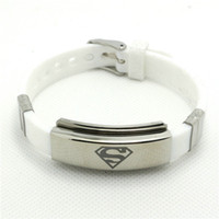 Wholesale Fast Shipping Yellow White Fashion jewelry Silicone Rubber Silver Superman Bracelet Stainless Steel USA Hero Superman Bracelet