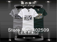 Wholesale Top sale summer men s clothing cotton short sleeve box logo tee for men New amp Hot Low price Hot
