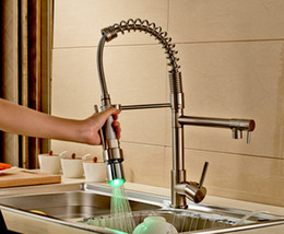 Wholesale And Retail Hot Sale Nickel Brushed Spring Kitchen Faucet Single Handle Mixer Tap LED Color Changing