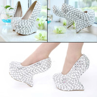 Wholesale Newest High heel Bridesmaid Bridal Crystal Shoes With Open toes Lady Shoe with platform for Wedding Party Ball Prom Pageant Event