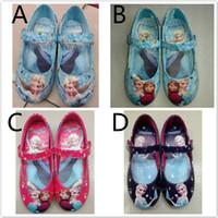 2014 hot sell frozen elsa and anna shoes blue girls flats ki...