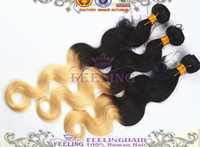 Brazilian Hair Body Wave 1b 613 6A Ombre Brazilian Virgin Hair Body Wave 3 or 4pcs Lot Color Black Blonde 1B 613 Ombre Hair Extensions Cheap Human Hair Weave