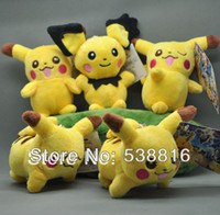 "Teddy Bear Multicolor Plush Wholesale-MN- EMS 100 Lot Pokemon Pikachu Plush Doll 5"" Plush Keychain Toy Christmas Gifts Wholesale"